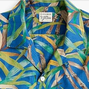 J. Crew Short Sleeve Slub Cotton Shirt Palm Print